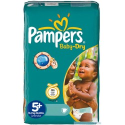 Pack de 48 Couches de la marque Pampers Baby Dry de taille 5+ sur Promo Couches