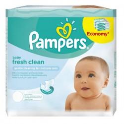 Pack économique 384 Lingettes Bébés Pampers Fresh Clean - 6 Packs de 64 sur Promo Couches