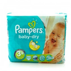 Pack de 82 Couches Pampers de la gamme Baby Dry taille 3+
