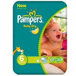 Pack de 31 Couches Pampers de la gamme Baby Dry taille 6