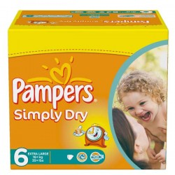 Pack d'une quantité de 62 Couches Pampers Simply Dry de taille 6