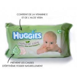 Pack d'une quantité de 64 Lingettes Bébés Huggies Natural Care