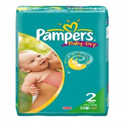 Pack 58 Couches Pampers Baby Dry de taille 2