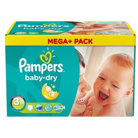 Pack économique 272 Couches Pampers de la gamme Baby Dry taille 3 sur Promo Couches