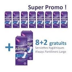Pack 260 Serviettes hygiéniques Always Pantiliners - 10 Packs de 26 Serviettes hygiéniques de taille Large sur Promo Couches