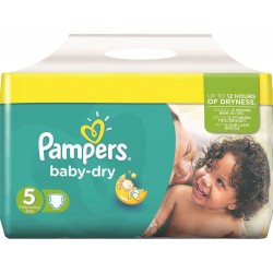 Pack 54 Couches de la marque Pampers Baby Dry taille 5 sur Promo Couches