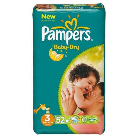 Pack 52 Couches Pampers Baby Dry de taille 3 sur Promo Couches