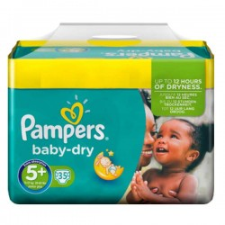 Pack 35 Couches Pampers de la gamme Baby Dry taille 5+ sur Promo Couches