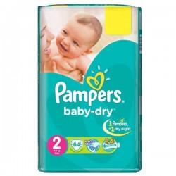 Pack d'une quantité de 64 Couches Pampers de la gamme Baby Dry taille 2 sur Promo Couches