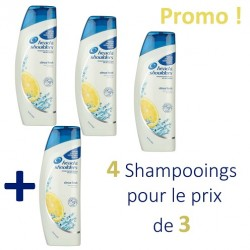Pack 4 Shampooings Head & Shoulders Antipelliculaire Citrus Fresh - 4 au prix de 3 sur Promo Couches