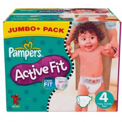 Pack de 273 Couches Pampers Active Fit taille 4 sur Promo Couches