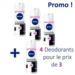 Pack économique de 4 Deodorants de Nivea Invisible Black and White - 4 au prix de 3 de taille Pocket sur Promo Couches