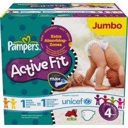 Maxi Pack 312 Couches Pampers Active Fit de taille 4 sur Promo Couches
