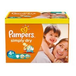 Pack d'une quantité de 280 Couches de Pampers Simply Dry de taille 4+ sur Promo Couches