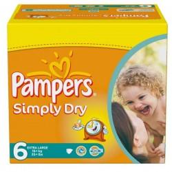 Pack économique d'une quantité de 124 Couches Pampers Simply Dry de taille 6