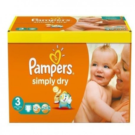 Pack de 56 Couches Pampers Simply Dry de taille 3 sur Promo Couches