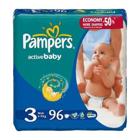 Pack de 96 Couches Pampers de la gamme Active Baby de taille 3 sur Promo Couches