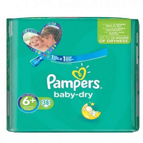 Pack 38 Couches Pampers Baby Dry taille 6+ sur Promo Couches
