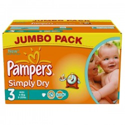Pack économique 280 Couches Pampers Simply Dry taille 3