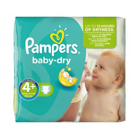 Pack 56 Couches Pampers Baby Dry taille 4+ sur Promo Couches