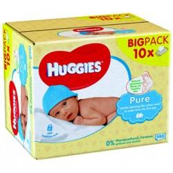 Maxi Pack de 560 Lingettes Bébés de la marque Huggies Pure sur Promo Couches