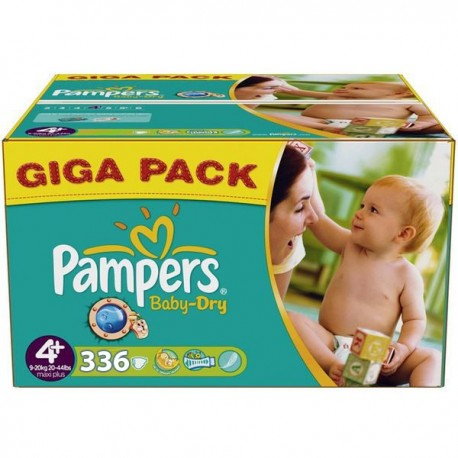 Giga Pack 336 Couches de Pampers Baby Dry de taille 4+ sur Promo Couches