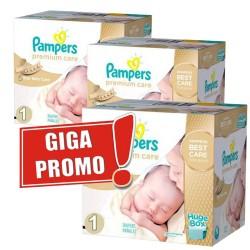 Pack économique Jumeaux de 1012 Couches Pampers de la gamme Premium Care de taille 1