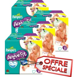 Maxi Giga Pack Jumeaux 615 Couches Pampers de la gamme Active Fit taille 3