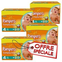 Maxi giga pack d'une quantité de 740 Couches de la marque Pampers Simply Dry taille 4