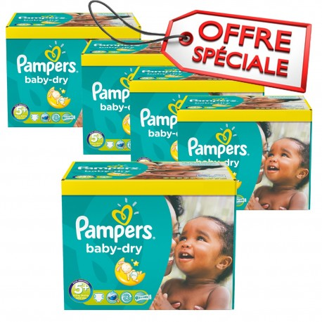 Maxi Giga Pack Jumeaux 731 Couches de Pampers Baby Dry de taille 5+ sur Promo Couches
