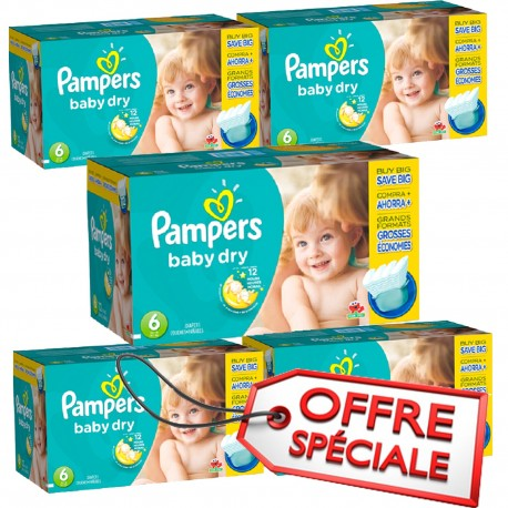 Maxi Giga Pack Jumeaux 627 Couches Pampers Baby Dry de taille 6 sur Promo  Couches d1a22f37e62