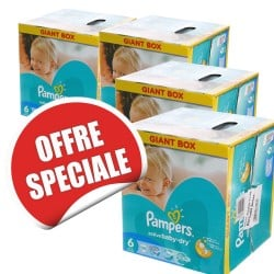 Maxi Giga Pack Jumeaux 648 Couches Pampers de la gamme Baby Dry taille 6