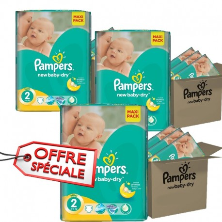 Gros pack jumeaux 952 Couches de la marque Pampers New Baby Dry taille 2 sur Promo Couches
