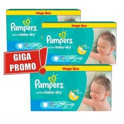 Pack économique d'une quantité de 448 Couches Pampers Active Baby Dry de taille 5 sur Promo Couches