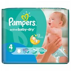 Pack économique 76 Couches Pampers Active Baby Dry de taille 4 sur Promo Couches