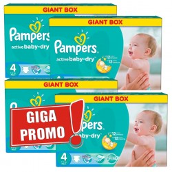 Gros pack 456 Couches Pampers de la gamme Active Baby Dry taille 4 sur Promo Couches