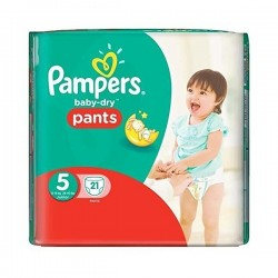 Pack de 21 Couches Pampers Baby Dry Pants de taille 5 sur Promo Couches