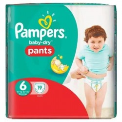 Pack 19 Couches Pampers Baby Dry Pants taille 6 sur Promo Couches