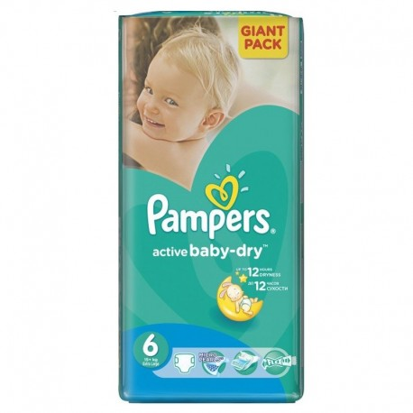 Pack de 42 Couches Pampers Active Baby Dry de taille 6 sur Promo Couches