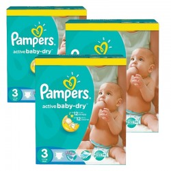 Mega pack 296 Couches Pampers Active Baby Dry taille 3