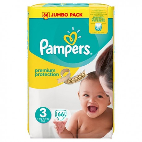 Pack 66 Couches Pampers Premium Protection taille 3 sur Promo Couches