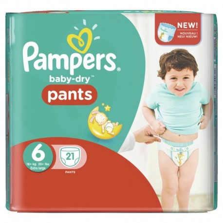 Pack 21 Couches Pampers Baby Dry Pants 6 sur Promo Couches