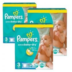 Pack économique d'une quantité de 384 Couches Pampers Active Baby taille 3