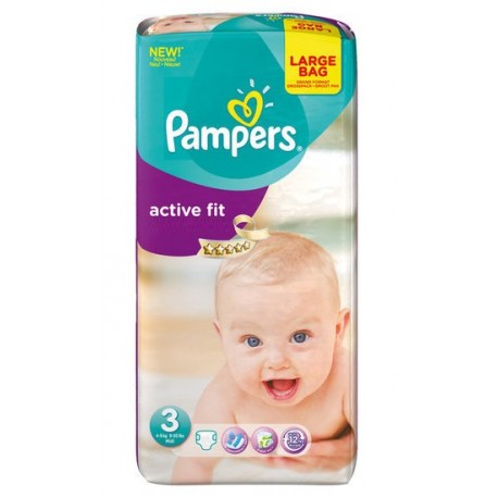 Pack 62 Couches Pampers de la gamme Active Fit taille 3 sur Promo Couches