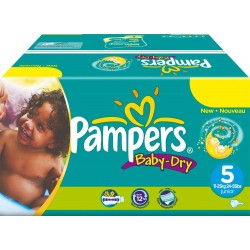 Giga Pack 164 Couches Pampers Baby Dry taille 5 sur Promo Couches