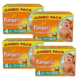 Maxi Giga Pack 294 couches Pampers Simply Dry sur Promo Couches