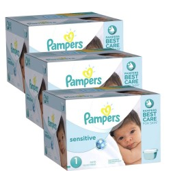 Mega Pack 504 Couches Pampers New Baby Sensitive taille 1