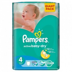 Pack 44 Couches Pampers Active Baby Dry taille 4 sur Promo Couches