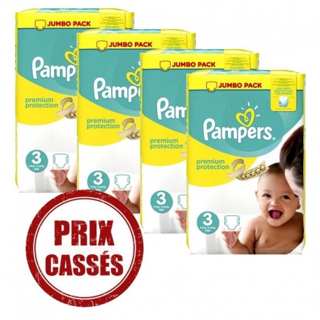 Maxi Giga pack 200 Couches Pampers Premium Protection taille 3 sur Promo Couches