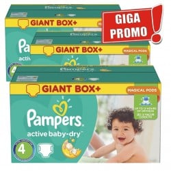 Maxi pack 616 Couches Pampers Active Baby Dry taille 4 sur Promo Couches